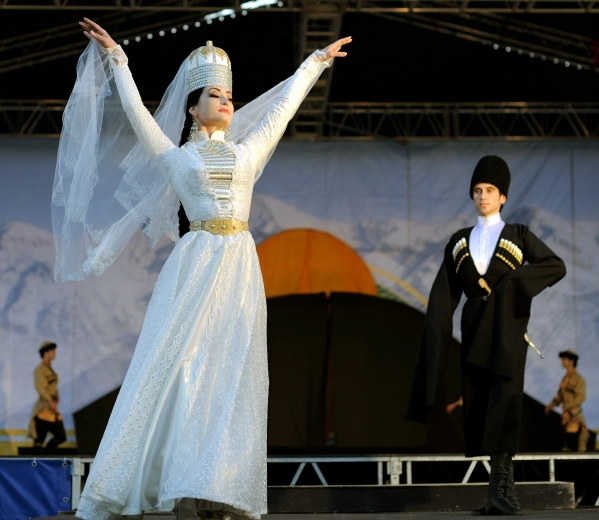 adyghe traditional costume circassian couple