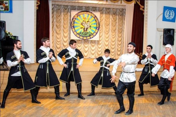 adyghe traditional costume circassian men dancing