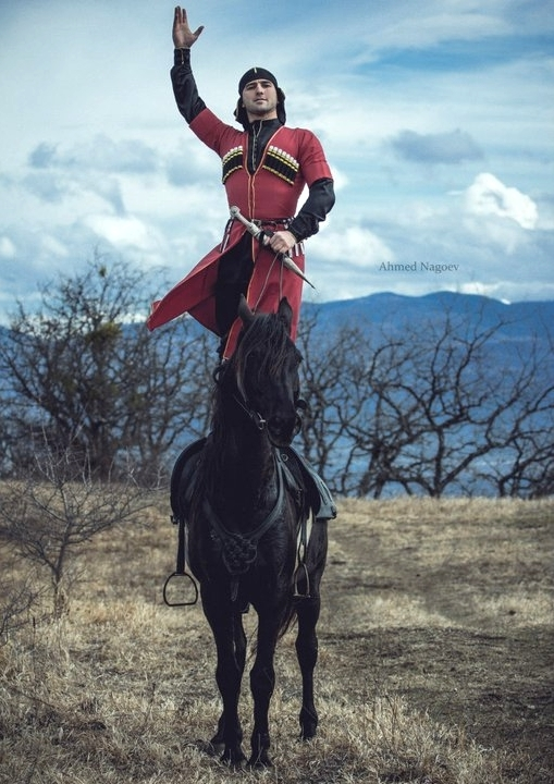 adyghe traditional costume North Caucasus horse rider
