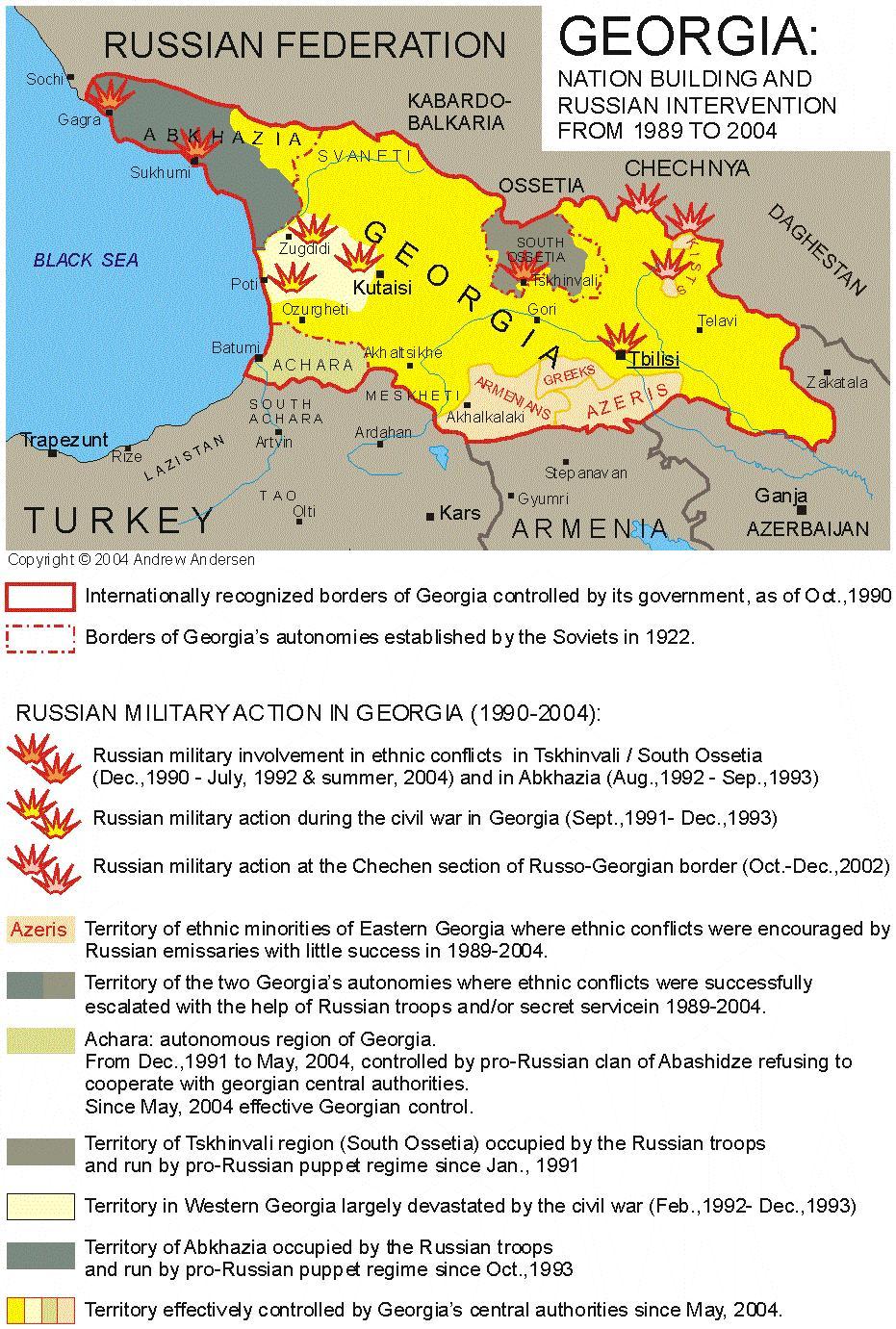 Russia Georgia Conflict North Caucasus Land - Abkhazia georgia russia map