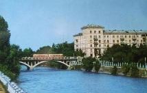 Grozny before war Chechnya North Caucasus Sunzha river bridge