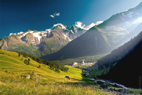 Mount Elbrus highest mountains in europe Great North Caucasus  mountains beautiful landscape scenery