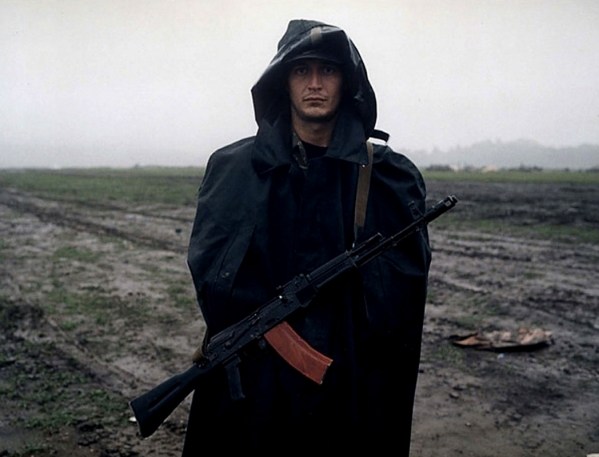Russian soldier in Chechnya war North Caucasus checkpoint