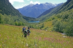 Baduk lake Teberdisnky nature reserve Dombay Greater Caucasus mountains North Caucasus