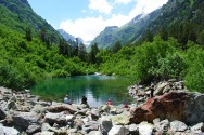 baduk lake Teberdisnky reserve Dombay Greater Caucasus mountains North Caucasus