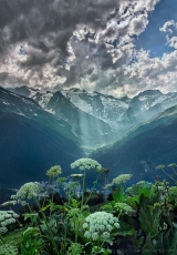 beautiful landscape Dombay Karachay-Cherkessia Greater Caucasus mountains North Caucasus