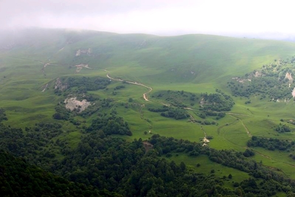 Caucasus mountains Vedensky Chechnya landscape road to Kezenoyam lake