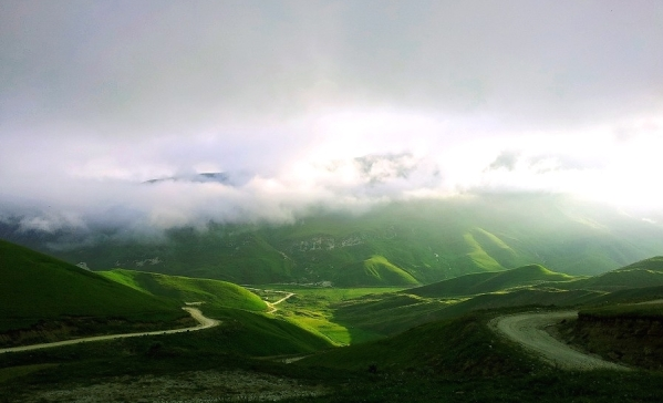 Caucasus mountains Vedensky Chechnya landscapes road to Kezenoyam lake