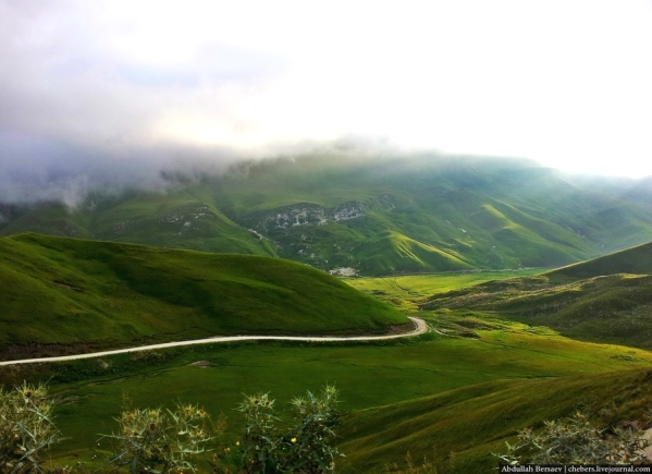 Caucasus mountains Vedensky Chechnya road to Kezenoyam lake