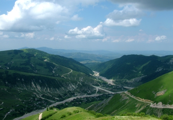 Caucasus mountains view over Kharachoy Chechnya North Caucasus