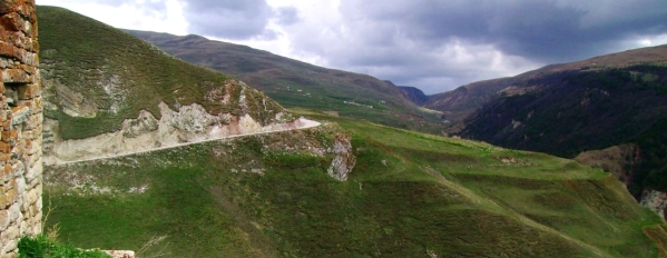 Chechnya Makazhoy view from Kazenoy fortress North Caucasus mountain road