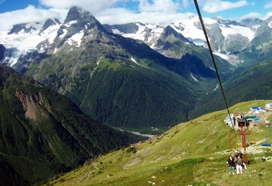 Dombay cable car Greater Caucasus Karachay-Cherkessia mountains North Caucasus