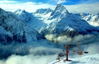 Dombay winter cable car Greater Caucasus mountains North Caucasus Sochi Olympics 2014