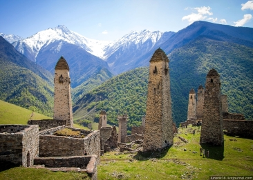 Erzi ancient nakh towers Ingushetia Great Caucasus mountains North Caucasus landscape