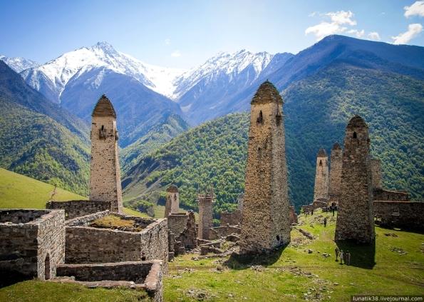 Erzi ancient nakh towers Ingushetia Great Caucasus mountains North Caucasus landscape