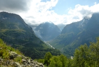 glacier gorge Dombay Greater Caucasus mountains North Caucasus