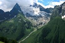 gorge glacier Dombay Karachay-Cherkessia Greater Caucasus mountains North Caucasus