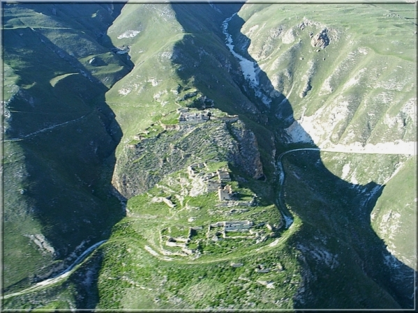 aerial view of Kazenoy fortress in Makazhoy
