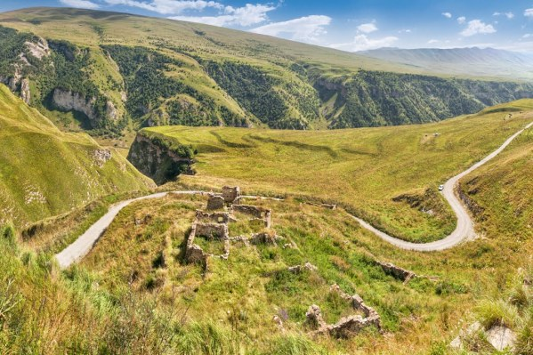 Makazhoy Kazenoy fortress ruins Chechnya North Caucasus mountain road