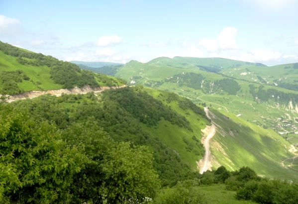 mountain road Caucasus mountains Kharachoy Chechnya North Caucasus