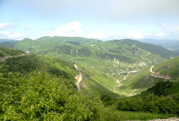 mountain road Kharachoy Chechnya North Caucasus mountains