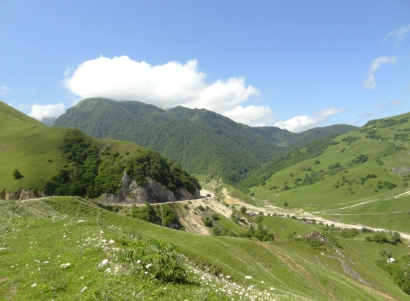 mountain road Kharachoy village Chechnya North Caucasus landscapes