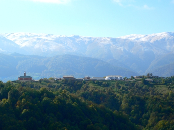 North Caucasus mountains Kharachoy mosque village Chechnya landscapes
