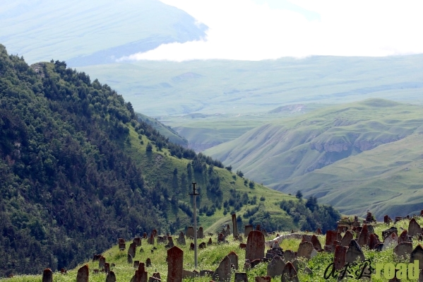 old cemetery in Makazhoy Chechnya land of Cheberloy Chechen clans