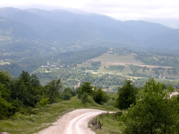 road Kharachoy village Chechnya North Caucasus