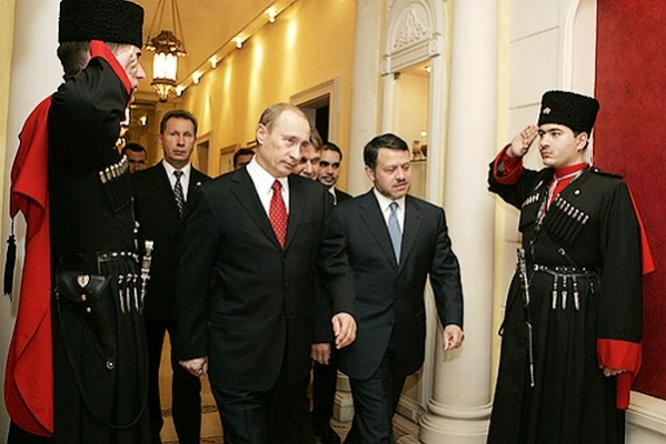 Vladimir Putin in Jordan Circassian toyal guards funny awkward