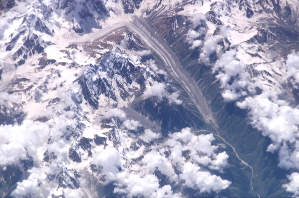 aerial photo of Mizhirgi glacier and Bezengi