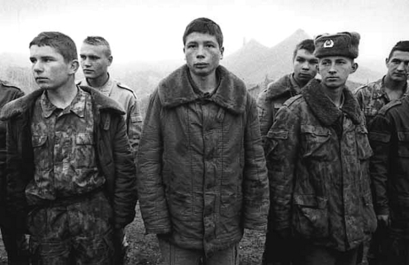 Russian soldiers were often young boys coming from poor backgrounds; they usually received little or no military training