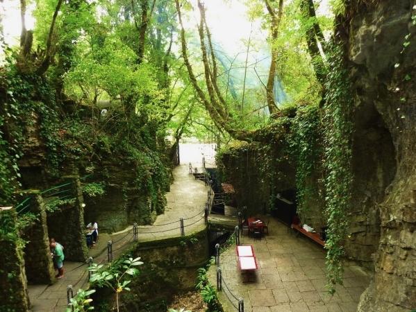 Kodori valley gorge cafe Abkhazia Georgia Caucasus mountains
