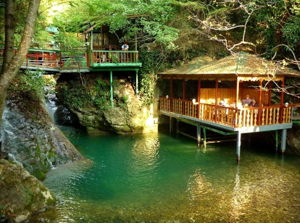 Kodori valley gorge cafe Abkhazia Georgia North Caucasus