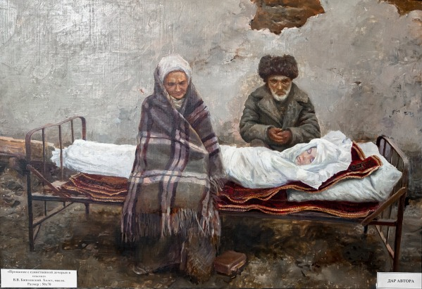 Painting displayed at the Nazran memorial to victims of political oppression in Ingushetia