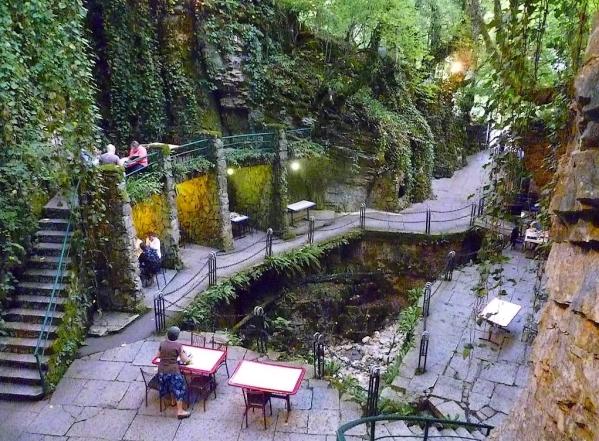 valley gorge cafe Abkhazia Georgia Caucasus mountains