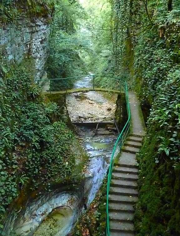 valley gorge restaurant Abkhazia Georgia Caucasus mountains
