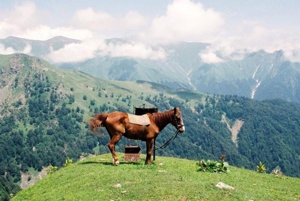 beautiful scenery Pankisi gorge Georgia North Caucasus mountains