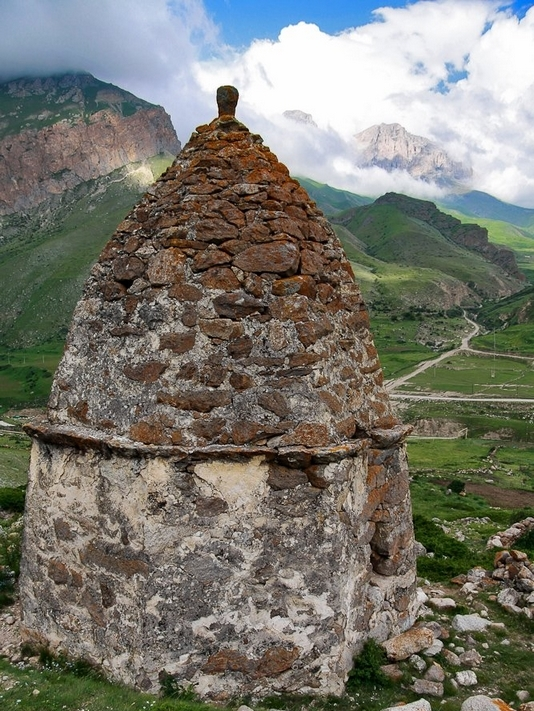 Caucasus mountains Eltyubyu City of the Dead Chegem crypt