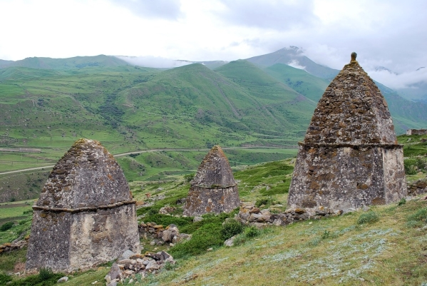 Caucasus mountains Eltyubyu City of the Dead Chegem crypts North Caucasus Kabardino-Balkaria