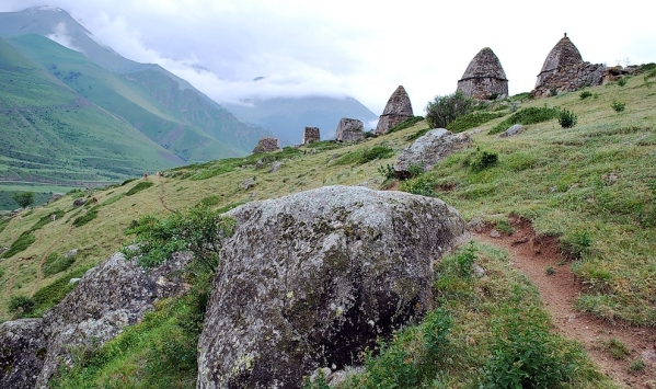 Caucasus mountains Eltyubyu City of the Dead Chegem crypts North Caucasus
