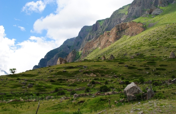 Caucasus mountains Eltyubyu City of the Dead Chegem valley North Caucasus Kabardino-Balkaria beautiful scenery