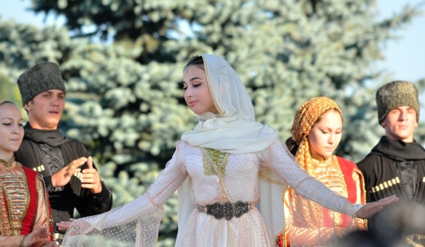 Chechen girl traditional dressing North Caucasus people nakh Vainakh