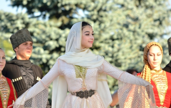 Chechen girls traditional dressing North Caucasus people nakh Vainakh
