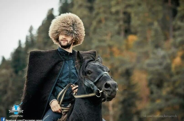 Chechen men traditional dressing North Caucasus people nakh
