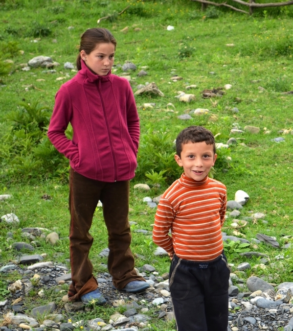 children in Pankisi valley Georgia North Caucasus mountains Kist chechen people