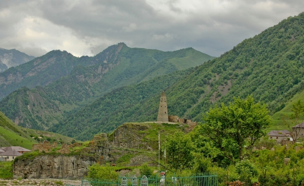 Nakh towers, typical of Chechnya and Ingushetia. Built to stand as solid refure not only from invaders, but also from each other during their deadly tribal feuds.