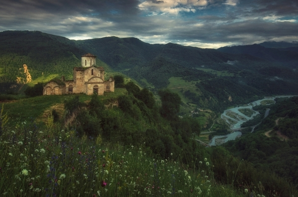 Sentinskychurch North Caucasus mountains landscapes