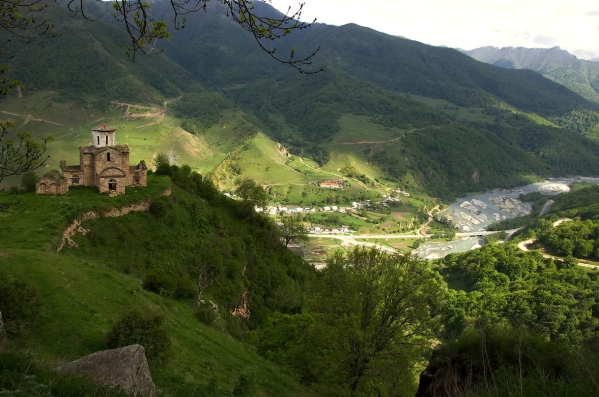 senty church near teberda river North Caucasus mountains landscapes