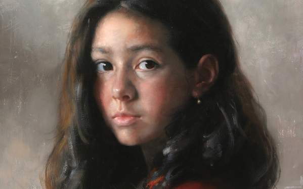 Arsen Kurbanov portrait painting oil Dagestan girl portrait